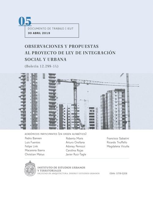 Observaciones y propuestas al proyecto de Ley de Integración Social y Urbana