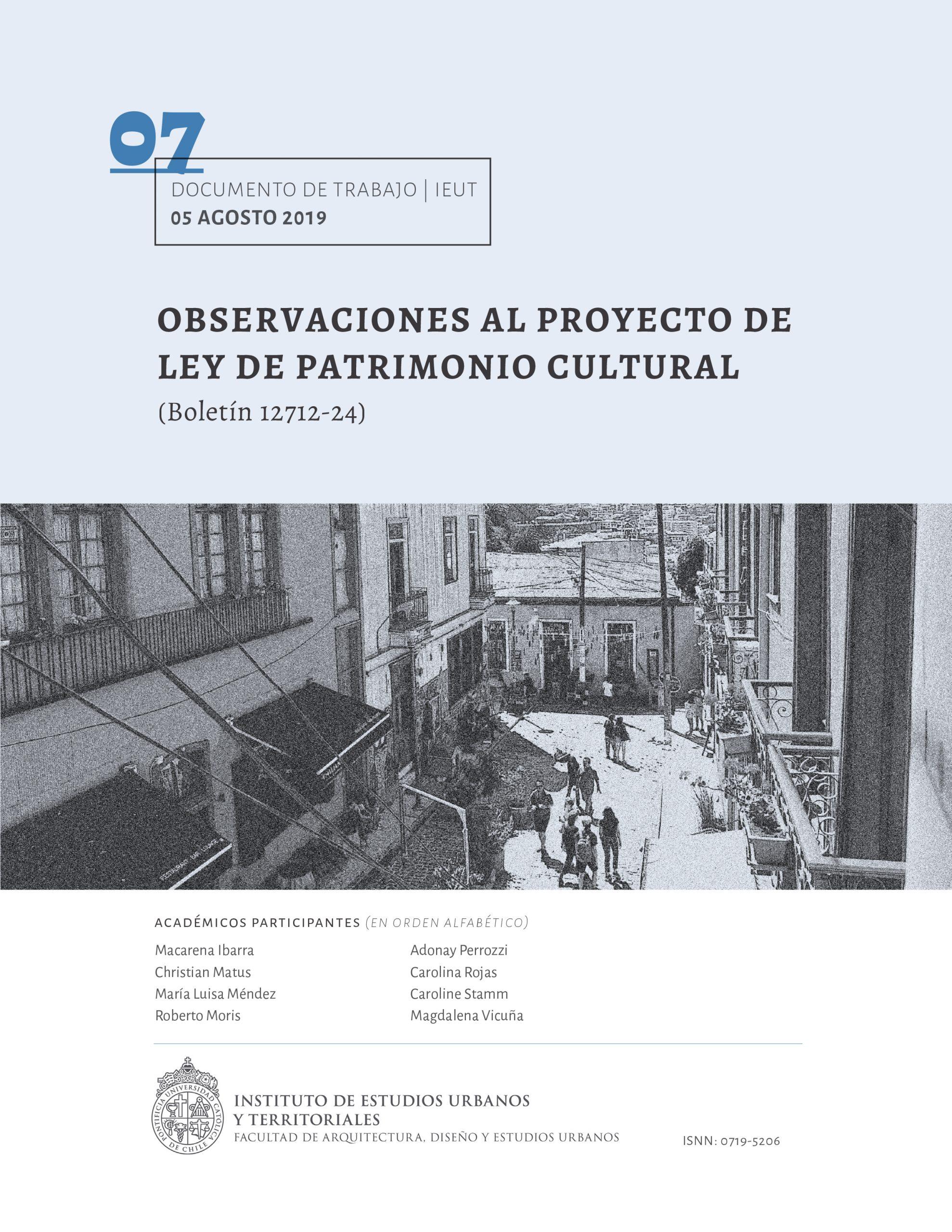 Observaciones al Proyecto de Ley de Patrimonio Cultural
