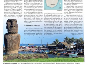 El Mercurio | Crecimiento Habitacional de Isla de Pascua desborda su área urbana y amenaza zonas arqueológicas