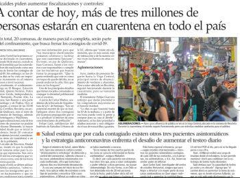 El Mercurio: a contar de hoy más de tres millones de personas entrarán en cuarentena en todo el país