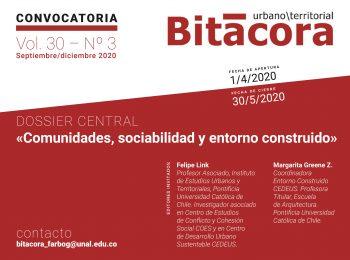CONVOCATORIA Envío de artículos | Revista Bitácora Urbano Territorial – Vol. 30 No. 3 sept/dic 2020