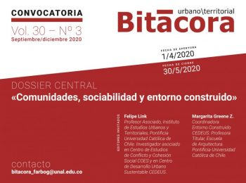 CONVOCATORIA  | Revista Bitácora Urbano Territorial