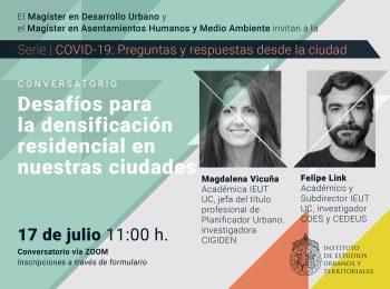 Serie   COVID-19: preguntas y respuestas desde la ciudad. Conversatorio: Desafíos para la densificación residencial en nuestras ciudades