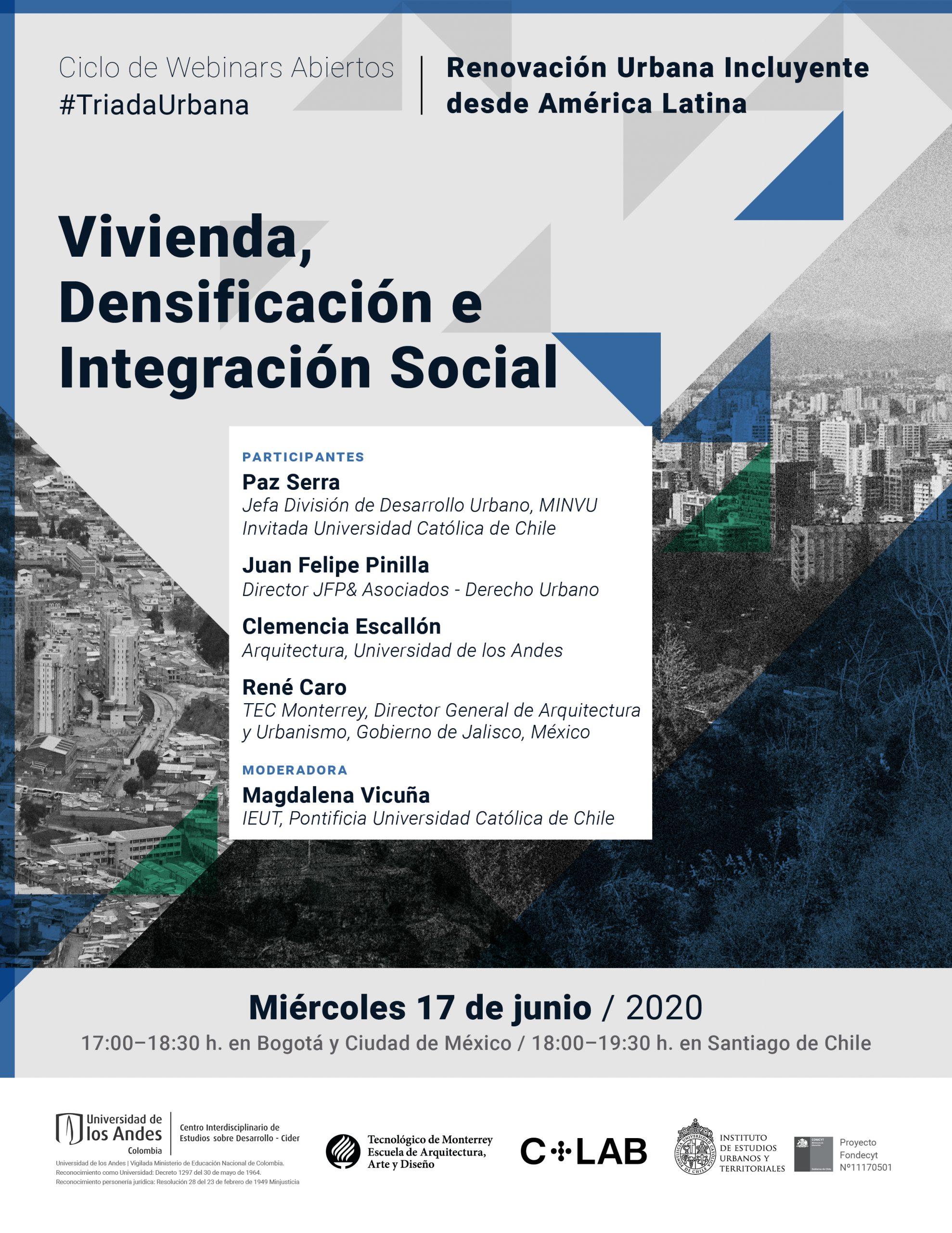 Webinar #TriadaUrbana | Vivienda, Densificación e Integración Social