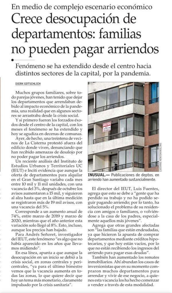 (El Mercurio) Crece desocupación de departamentos: familias no pueden pagar arriendos