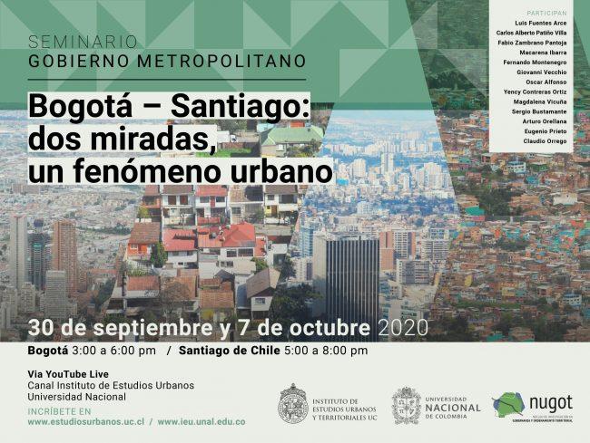 SEMINARIO   Bogotá – Santiago:  dos miradas,  un fenómeno urbano