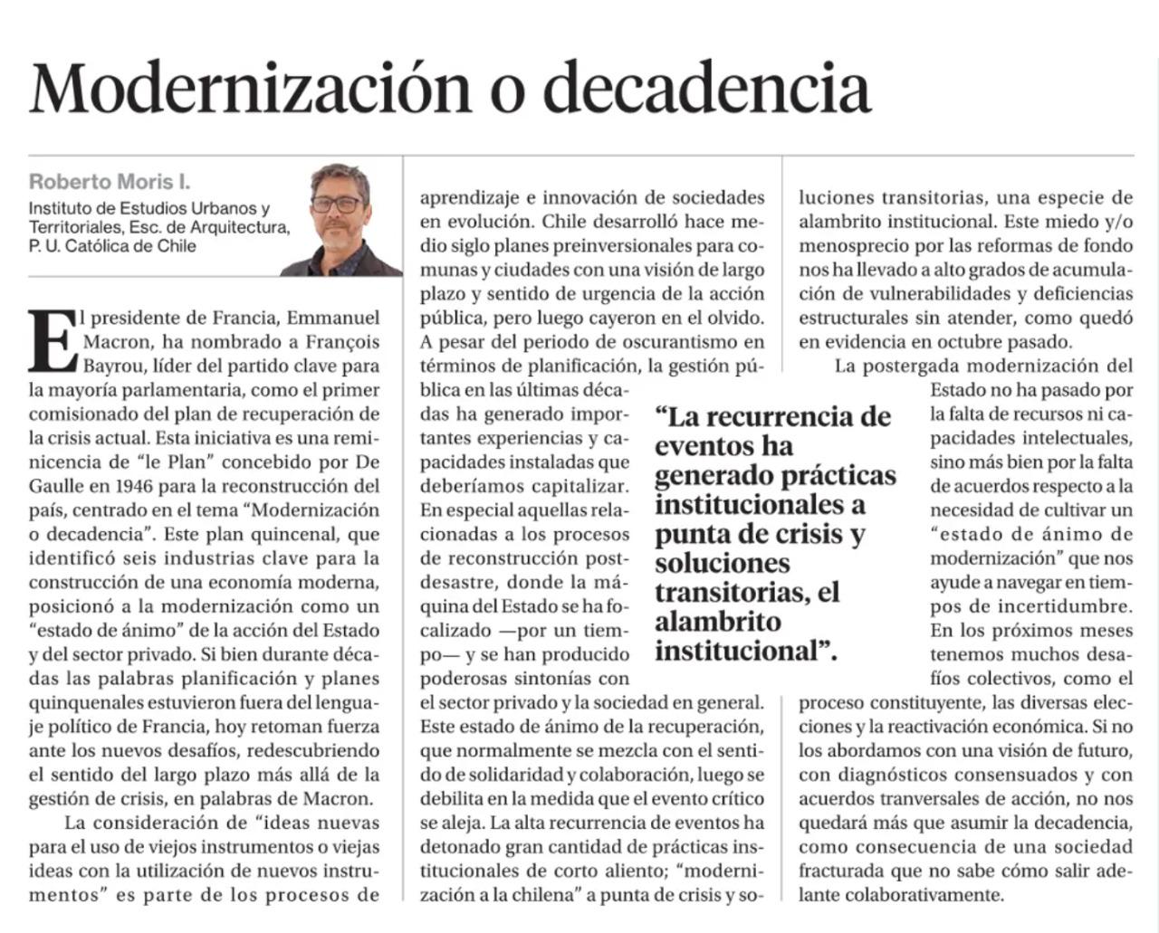 La Segunda: Modernización o decadencia