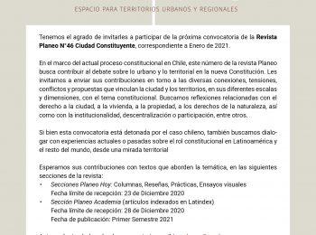 Convocatoria de la Revista Planeo N°46 Ciudad Constituyente