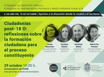 SERIE: A un año del 18 de octubre | Ciudadanías post-18 O: reflexiones sobre la formación ciudadana para el proceso constituyente