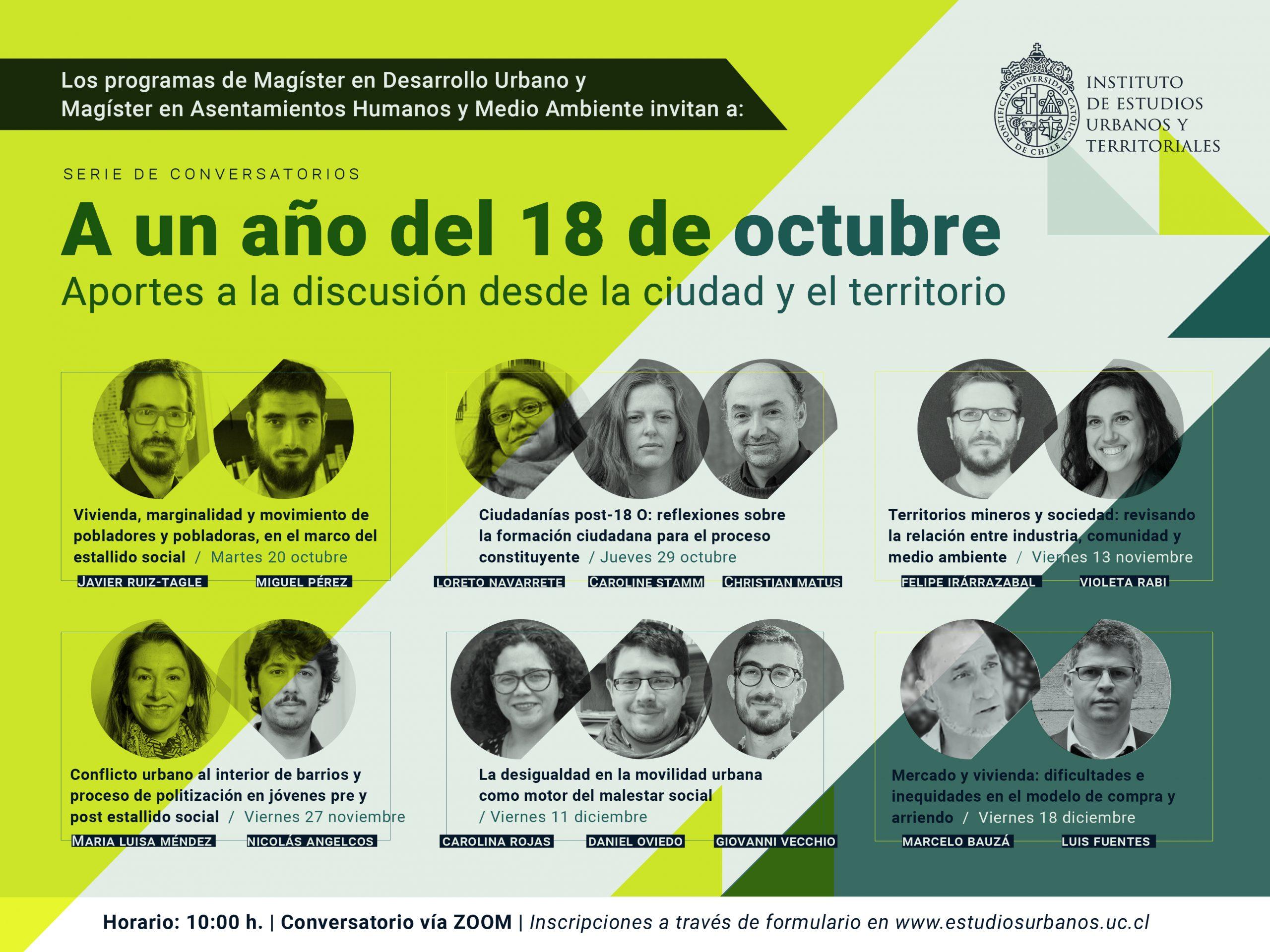 <strong>Serie de conversatorios | A un año del 18 de octubre: Aportes a la discusión desde la ciudad y el territorio</strong>