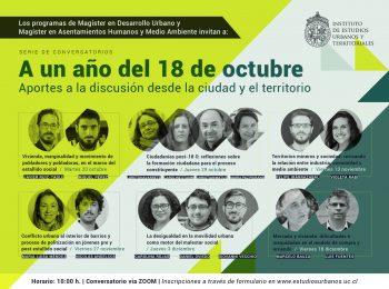 A un año del estallido social: Magísteres del Instituto de Estudios Urbanos convocan a una nueva serie de conversatorios