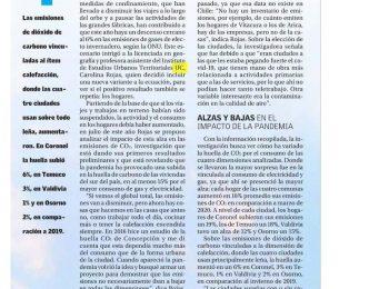El Mercurio: Efecto covid: en más de 15% aumentaron las emisiones de CO2 por consumo de gas y electricidad en hogares del sur de Chile