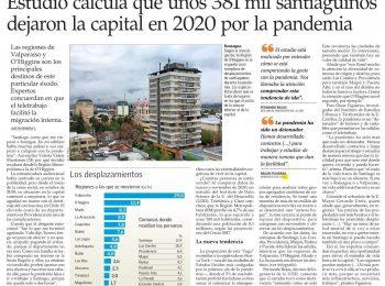 El Mercurio: unos 381 mil santiaguinos dejaron la capital en 2020 por la pandemia