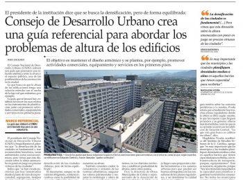 El Mercurio: CNDU crea guía referencial para abordar los problemas de altura de los edificios