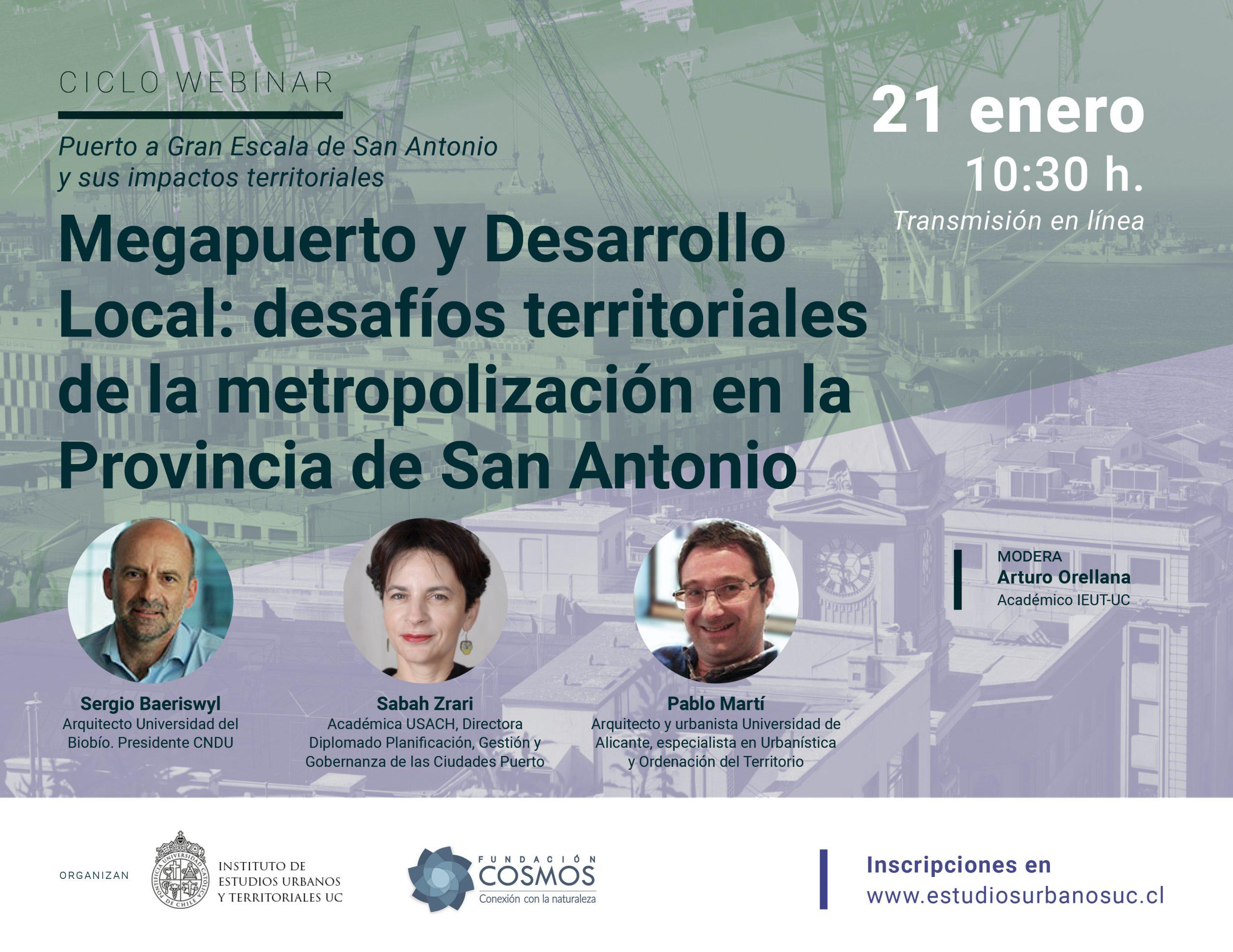 Megapuerto y Desarrollo Local: desafíos territoriales de la metropolización en la Provincia de San Antonio | 21 enero 10:30 h.