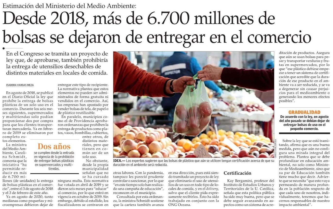 El Mercurio: Desde 2018, más de 6.700 millones de bolsas se dejaron de entregar en el comercio