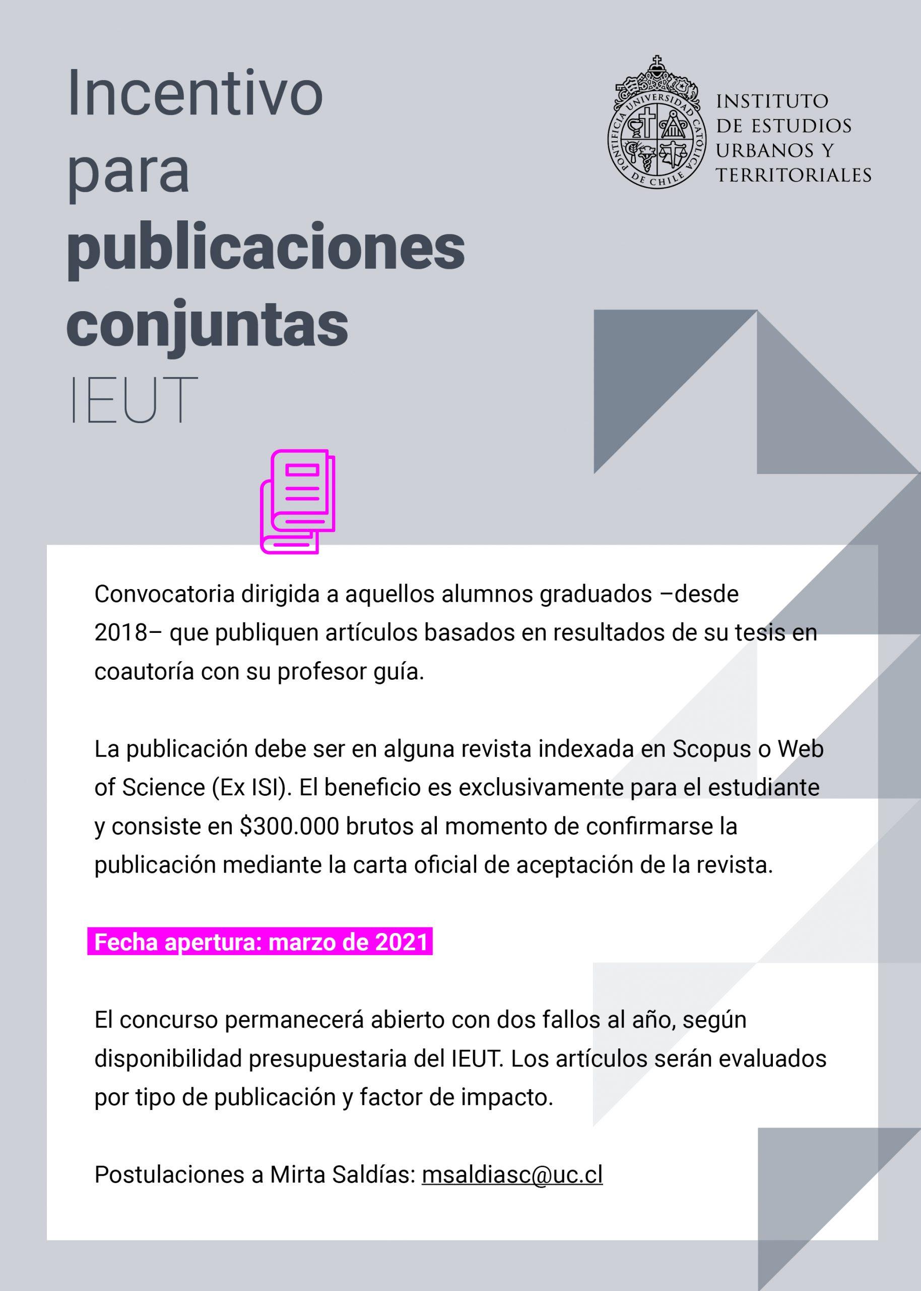 CONVOCATORIA | Incentivo para publicaciones conjuntas IEUT