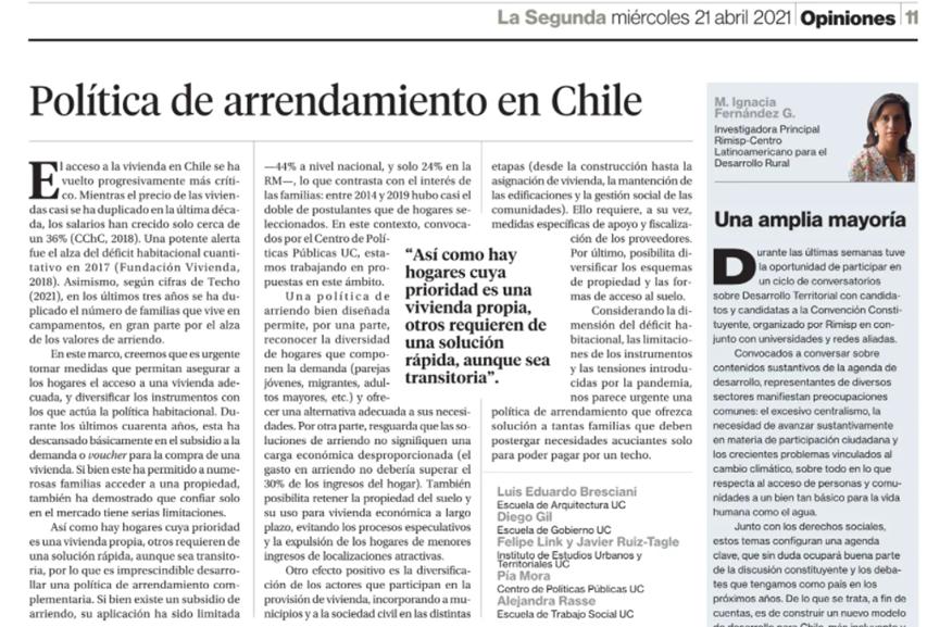 La Segunda: Política de arrendamiento en Chile