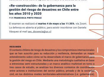 Defensa de Tesis | Francisca Pinto | Planificación Urbana y Magíster en Desarrollo Urbano