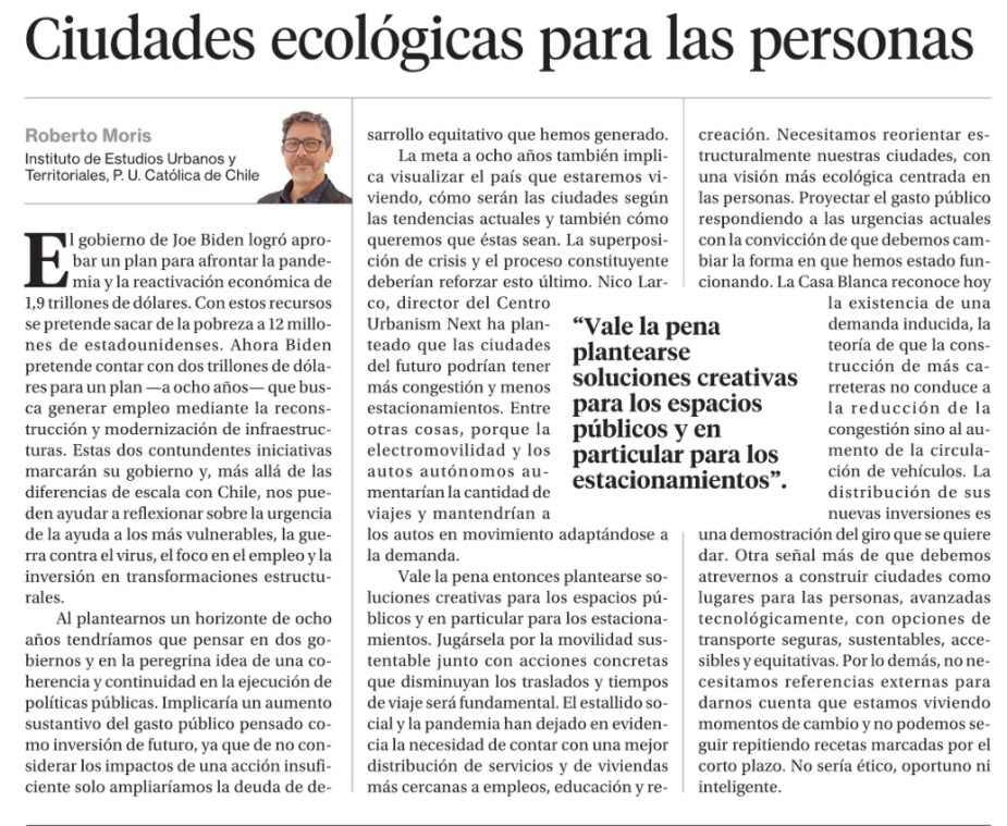 La Segunda: Ciudades ecológicas para las personas