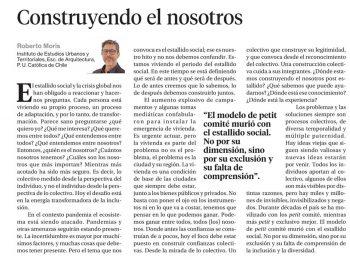 La Segunda: Construyendo el nosotros, columna de opinión de Roberto Moris