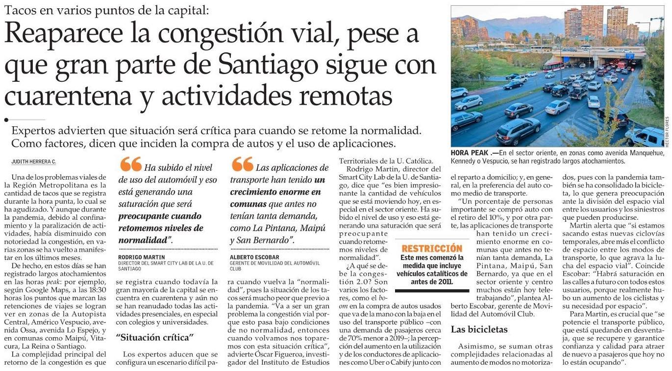 Reaparece la congestión vial, pese a que gran parte de Santiago sigue con cuarentena y actividades remotas
