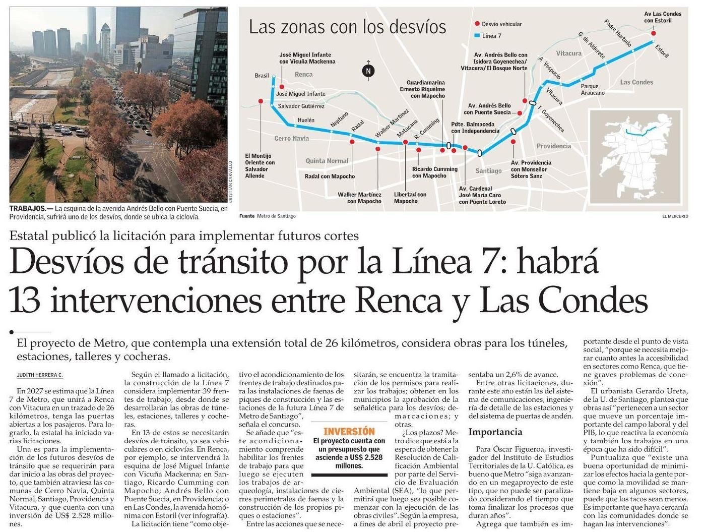 El Mercurio: Habrá 13 intervenciones entre Renca y Las Condes por trabajos de Línea 7