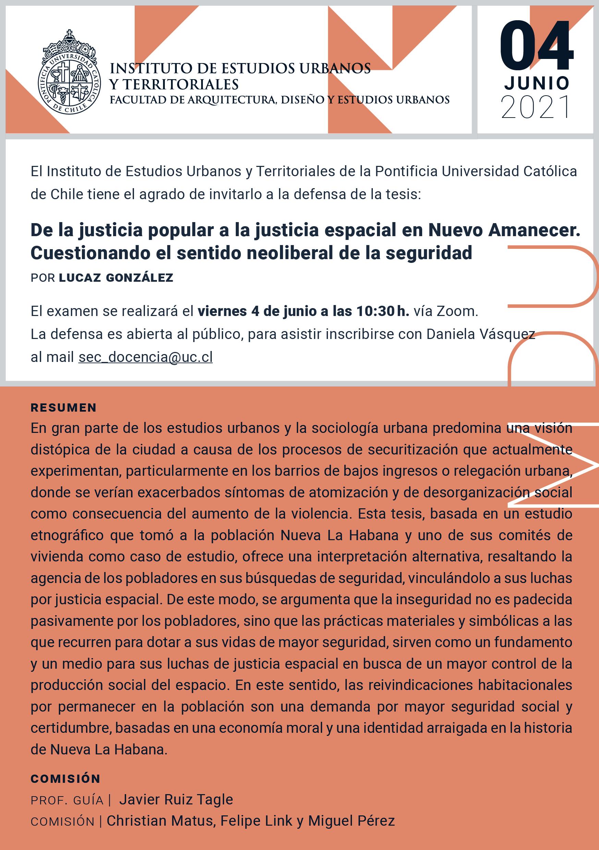 Defensa de Tesis | Lucaz González | Magíster en Desarrollo Urbano