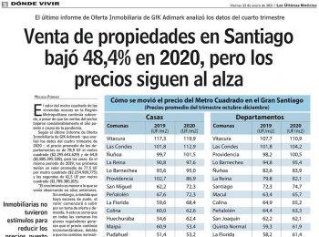 LUN | Venta de propiedades en Stgo. bajó un 48,4% en 2020, pero los precios siguen al alza.