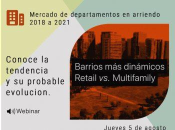 Mercado de departamentos en arriendo 2018 a 2021 : barrios más dinámicos, Retail vs Multifamily.