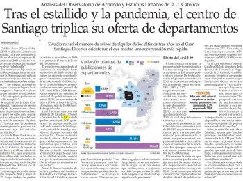 El Mercurio: Tras el estallido y la pandemia, el centro de Santiago triplica su oferta de departamentos