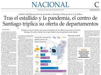 El Mercurio | Tras el estallido y la pandemia, el centro de Santiago triplica su oferta de departamentos