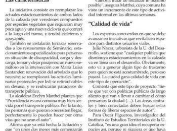 (El Mercurio) Providencia intervendrá Seminario: tendrá ciclovía y jardineras