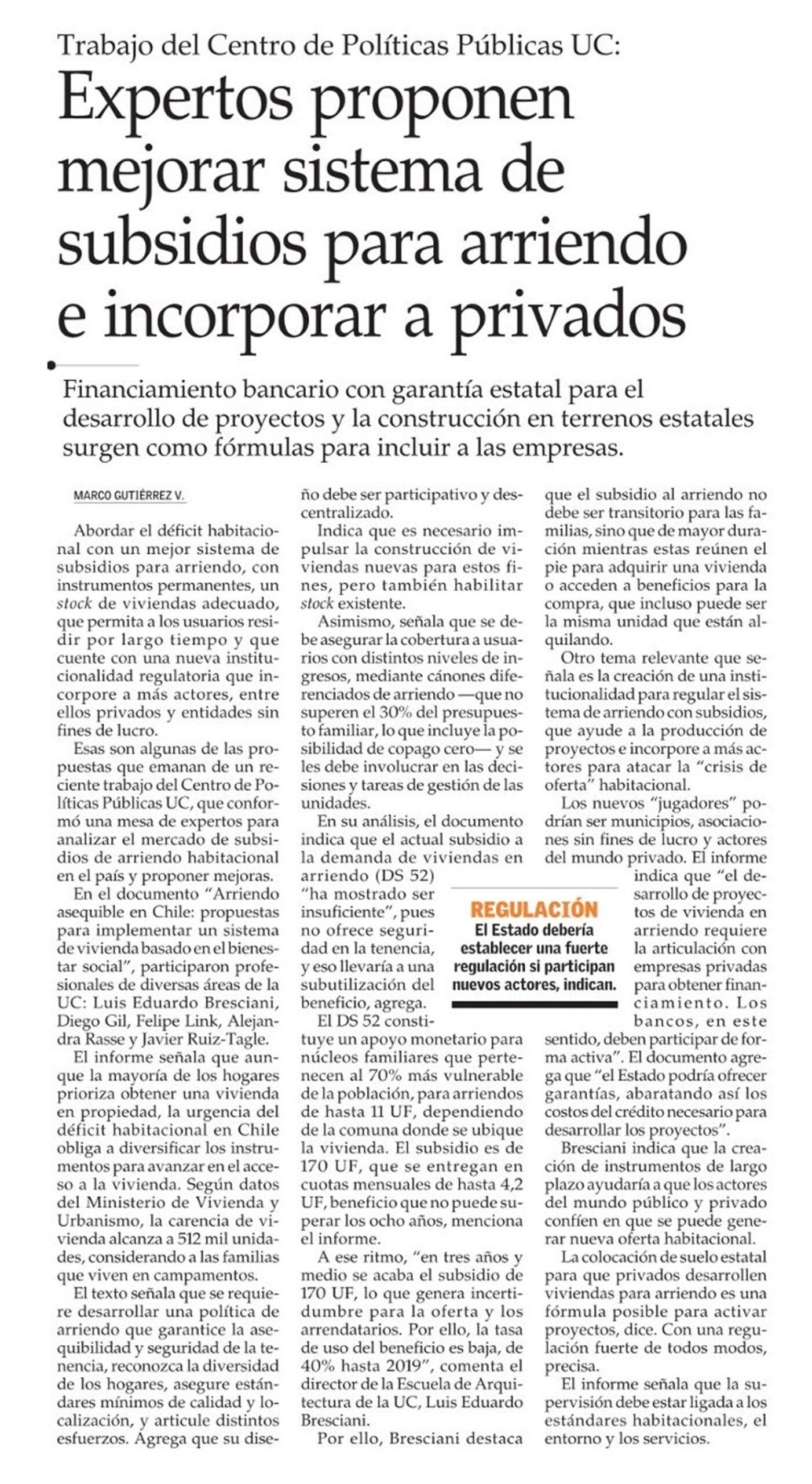 El Mercurio: Expertos proponen mejorar sistema de subsidios para arriendo e incorporar a privados